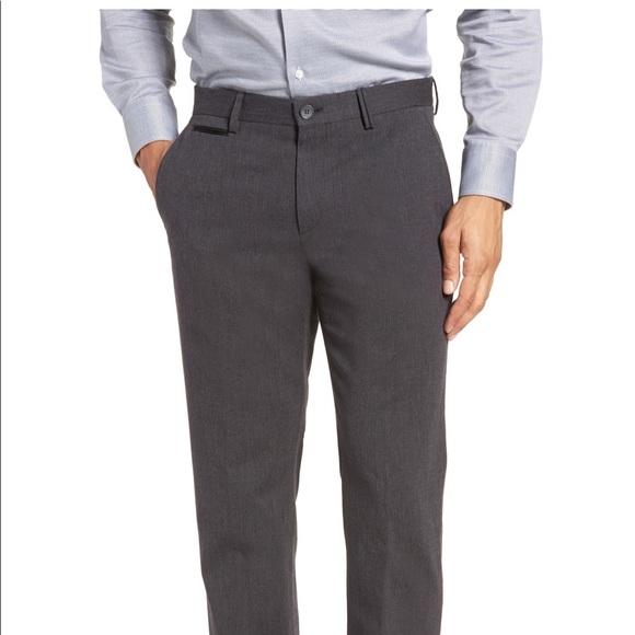 Neues Produkt wähle echt für die ganze Familie Hugo Boss Batho Flat Front Solid Cotton Grey Pants NWT
